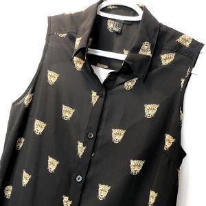 Forever21 high low sheer black cheetah top Sz S